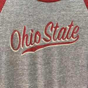 COED Tops - Ohio State 3/4 Sleeve Baseball Tee